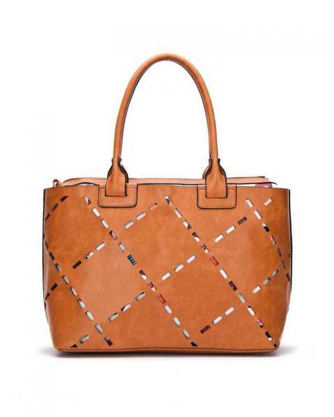 Bag in Bag tas Girls camel kunstleder tassen dames geperforeerde voorkant binnen tas print giuliano tassen online