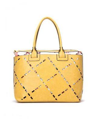 Bag in Bag tas Girls geel gele kunstleder tassen dames geperforeerde voorkant binnen tas print giuliano tassen online