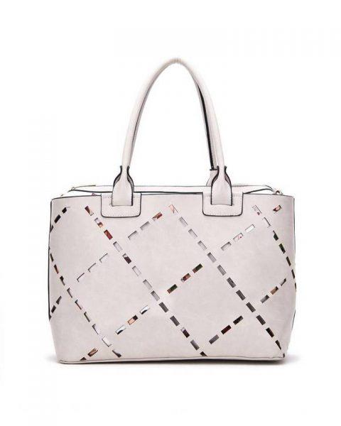 Bag in Bag tas Girls grijs grijze kunstleder tassen dames geperforeerde voorkant binnen tas print giuliano tassen online