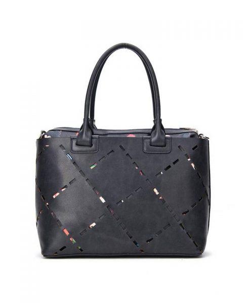 Bag in Bag tas Girls zwart zwarte kunstleder tassen dames geperforeerde voorkant binnen tas print giuliano tassen online