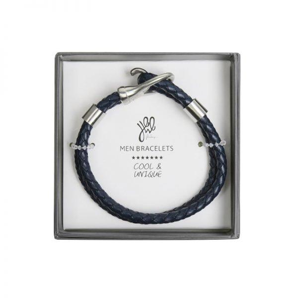 Leren Armband Brother blauw blauwe stoere gevlochten armbanden met zilveren slot luxe kado mannen online bestellen Bracelet for men cadeau