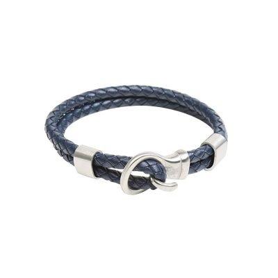 Leren Armband Brother blauw blauwe stoere gevlochten armbanden met zilveren slot luxe kado mannen online bestellen Bracelet for men cadeau nu