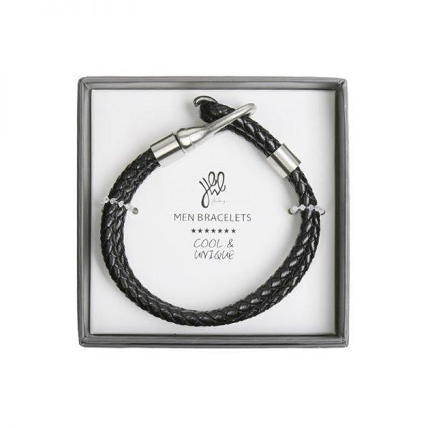 Leren Armband Brother zwart zwarte stoere gevlochten armbanden met zilveren slot luxe kado mannen online bestellen Bracelet for men cadeau