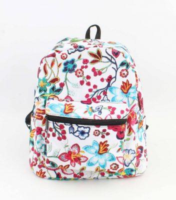 Rugtas Bloemen wit witte bloemen print rugzakken rugtassen kleine dames festival bags stoffen bags online bestellen backpack small