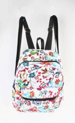Rugtas Bloemen wit witte bloemen print rugzakken rugtassen kleine dames festival bags stoffen bags online bestellen backpack voorvak