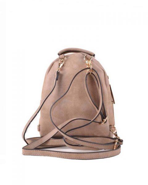 Rugtas Lilly S beige taupe kleine rugzakken rugtassen festival bags goedkope dames tassen kunstleder giuliano online bestellen achterkant