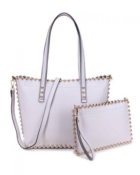 Shopper & Clutch Studs grijs grijze bag in bag tas met binnentas gouden studs musthave tassen itbags look a like tassen fashionbags online giuliano