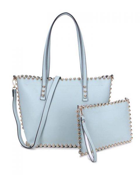 Shopper & Clutch Studs licht blauw blauwe bag in bag tas met binnentas gouden studs musthave tassen itbags look a like tassen fashionbags online giuliano