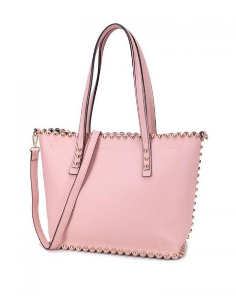 Shopper & Clutch Studs roze bag in bag tas met binnentas gouden studs musthave tassen itbags look a like tassen fashionbags online giuliano