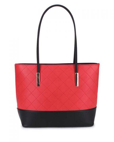 Shopper set Fashion rood rode zwart zwarte 2 kleurige shoppers set stiksels kleine grote shopper musthave tassen kunstleder online bestellen