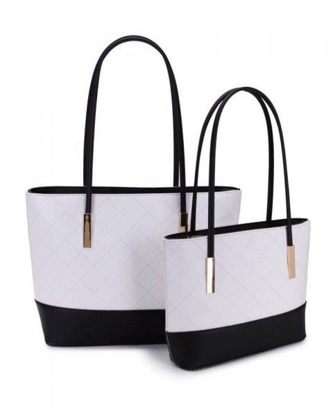 Shopper set Fashion wit witte zwart zwarte 2 kleurige shoppers set kleine grote shopper musthave tassen goud beslag kunstleder online bestellen achterkant