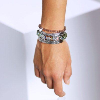 Zilveren Armband Ethnic Lines open zilver armbanden graveerde lijnen musthave open Bracelets ladies silver boho