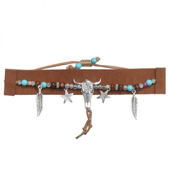 Armband-boho-beads bruin bruine seudine armband zilveren bedels bull veertjes dames armbanden koord veters shop online shop