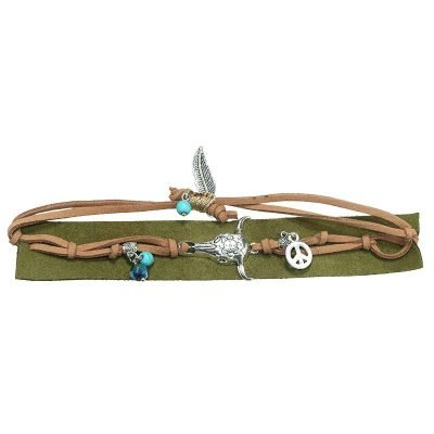 Armband-boho-charms groen groene seudine armband zilveren bedels bull peace dames armbanden koord veters shop online shop