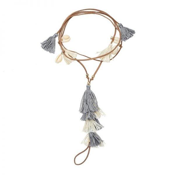 Enkelbandje Colorful Tassles bruin bruine boho veter enkelbandjes gekleurde kwastjes grijs creme wite ankle-bracelets dames bohemian vakantie ibiza