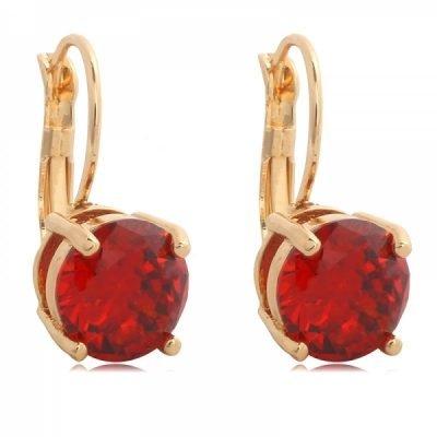 Oorbellen Fancy goud goduen oorbel oorhanger oorknopje oorknopjes met rode rood glas steen diamandjes earrings silver dames