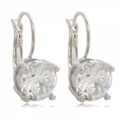 Oorbellen Fancy zilver zilveren oorbel oorhanger oorknopje oorknopjes met witte glas steen diamandjes earrings silver dames