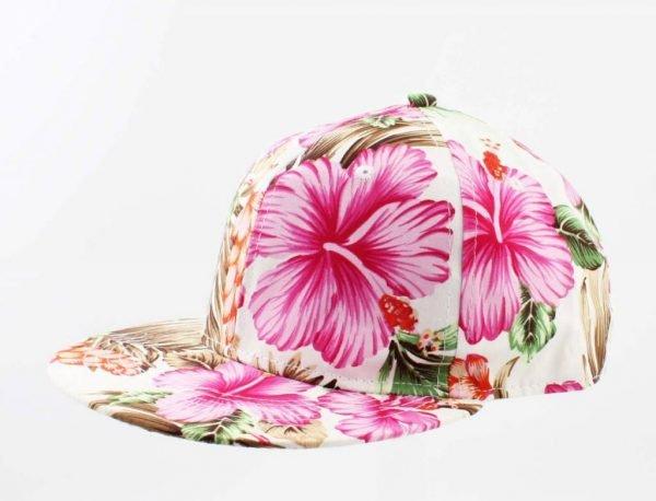 Pet Tropical wit witte dames petten met tropische bloemenprint flower print white caps musthave mode items vakantie