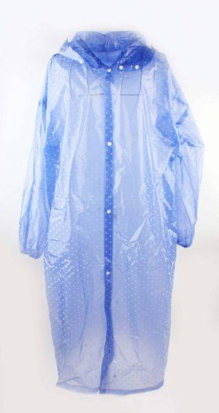 Regenjas Dots blauw blauwe witte stippen regenjassen dames vrouwen meiden gekleurde print doorzichtig capuchon festival hip musthaves