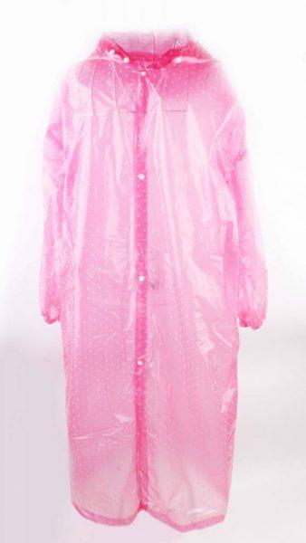 Regenjas Dots fuchsia pink roze stippen regenjassen dames vrouwen meiden gekleurde print doorzichtig capuchon festival hip musthaves