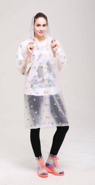 Regenjas face wit witte regenjassen dames vrouwen meiden gekleurde print doorzichtig capuchon festival hip musthaves