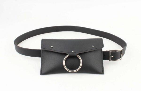 Riemtas Ring zwart zwarte buideltas belt bag heuptassen zilveren studs festival bags dames black online bestellen beltbag