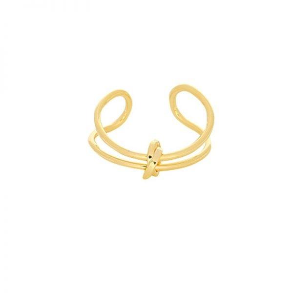Ring Connected Lines goud gouden open dames ringen maat 17 met knoop fashion musthave ringen accessoires online