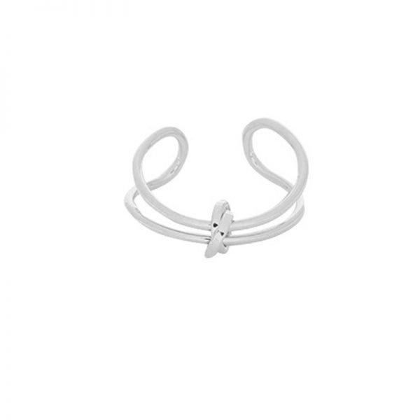 Ring Connected Lines zilver zilveren open dames ringen maat 17 met knoop fashion musthave ringen accessoires online