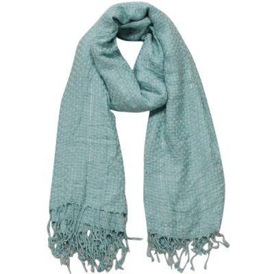 Sjaal Amayzine blauw blauwe geweven dames sjaals lange franjes musthave fashion light blue Scarfs shawls online