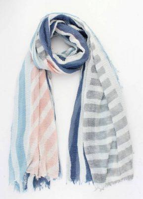 Sjaal Celesse blauw framboos gestreepte dames sjaals zomer print vrolijke sjaals online omslagdoek ladies shawls online