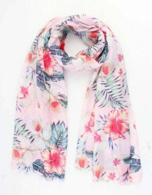 Sjaal Happy Flowers roze pink dames sjaals zomer bloemen print vrolijke sjaals online omslagdoek ladies shawls online