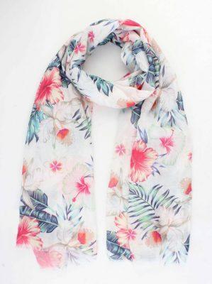Sjaal Happy Flowers wit witte dames sjaals zomer bloemen print vrolijke sjaals online omslagdoek ladies shawls online