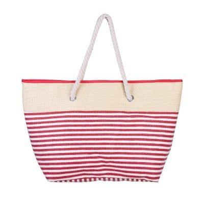 Strandtas Stripes rood rodegestreepte grote strandtassen met witte strepen en handvat beachbags strandtas zomer tassen
