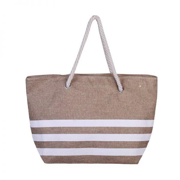 Strandtas Three Lines bruin bruine gestreepte grote strandtassen met witte strepen en handvat beachbags strandtas zomer tassen