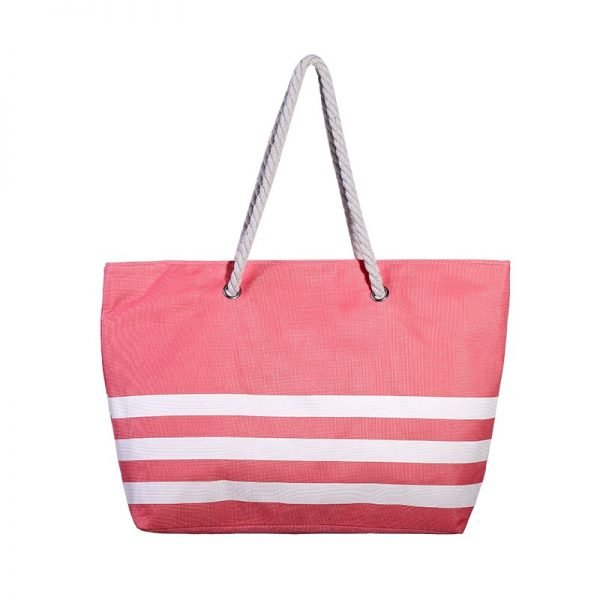 Strandtas Three Lines rood rode gestreepte grote strandtassen met witte strepen en handvat beachbags strandtas zomer tassen
