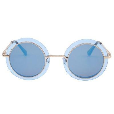 Zonnebril Retro Round goud gouden blauw blauwe grijs grijze glazen gouden goud montuur hippe fashion bril sunglases fashion brillen 2018 2019 shop online goedkoop be