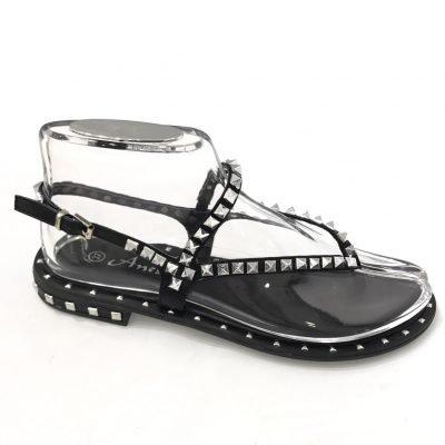 Zwarte teensandalen Silver studs zwart teen slippers sandalen open damesschoenen zilveren studs stoere slippers online