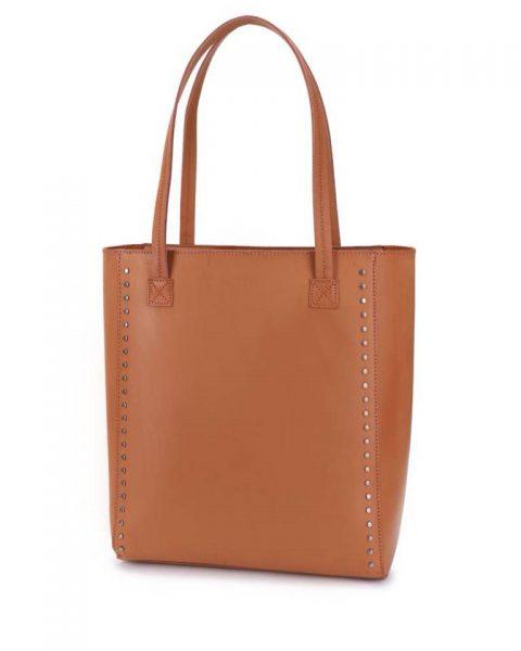 Shopper Simple Studs cognac bruin camel bruine grote simpele kunstlederen shoppers online giuliano tassen bestellen kopen