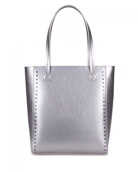 Shopper Simple Studs zilver zilveren grote simpele kunstlederen shoppers online giuliano tassen bestellen kopen
