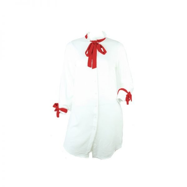 blouse sybilla bow witte lange blouse strik blouses jurk muthave fashion