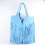 Suede tas Fringe Me mint baby blauw suede musthave tas shopper fashion bags franjes