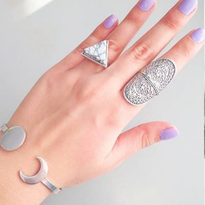 zilveren armband maan moon ring marble ovale ring