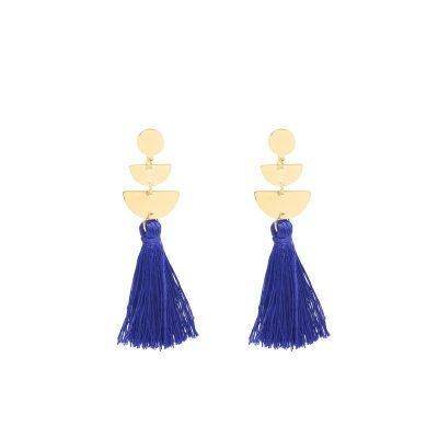 Oorbellen Cool Tassel blauw blauwe Earrings lange oorbel kwastje goud gouden detail musthave fashion online kopen buy