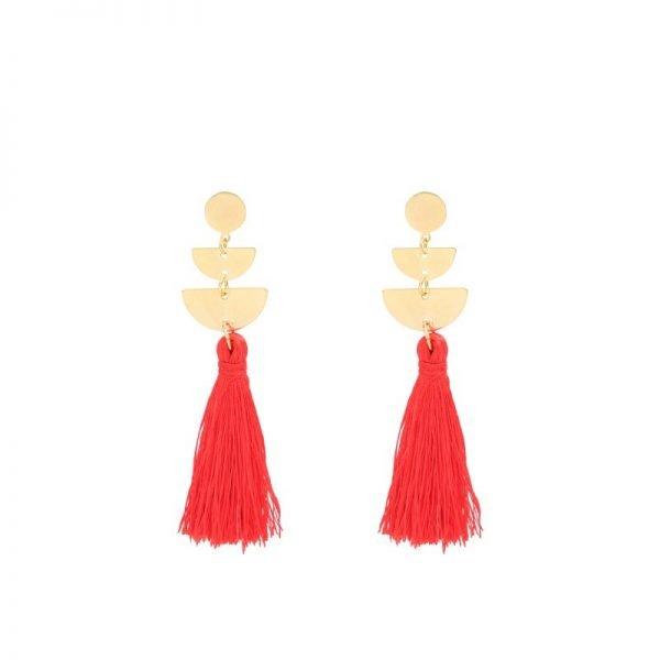 Oorbellen Cool Tassel rood rode Earrings lange oorbel kwastje goud gouden detail musthave fashion online kopen buy