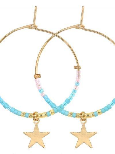 Oorbellen Stars beats gouden ronde oorbellen oorhangers blauwe steentjes en sterren online kopen sieraden accessoires musthaves