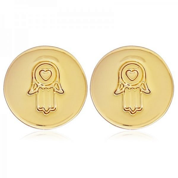 Oorknopjes Hand van Fatima goud gouden ronde earrings gold kleine dames oorbellen hartje musthave sieradenn