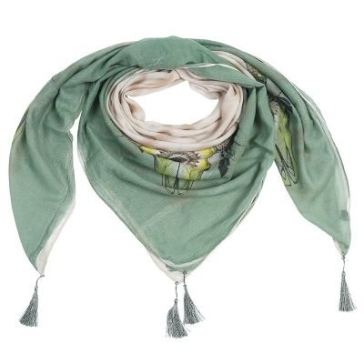 Sjaal Autumn Bull groen groene beige dames sjaal omslagdoek scarf buffel stieren kop detail kwastjes boho kopen online