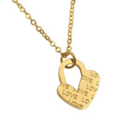 ketting hart bedel tekst love goud gouden ketting kettingen dames ketting sieraden accessoires online kopen bestellen collie