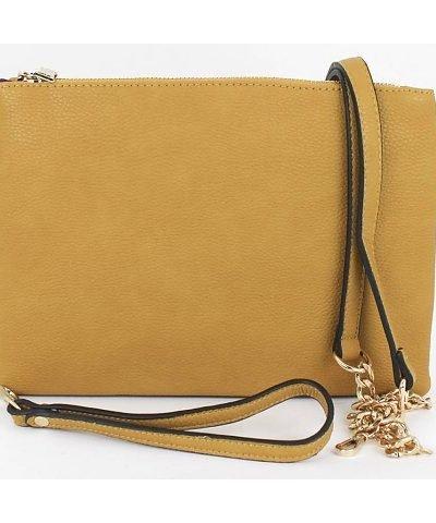 Leren tas Simple geel gele luxe leren vierkant tasje meerdere vakjes it bags online kopen bestellen details