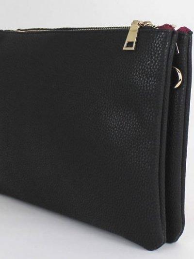 Leren tas Simple zwart zwarte luxe leren vierkant tasje meerdere vakjes it bags online kopen bestellen